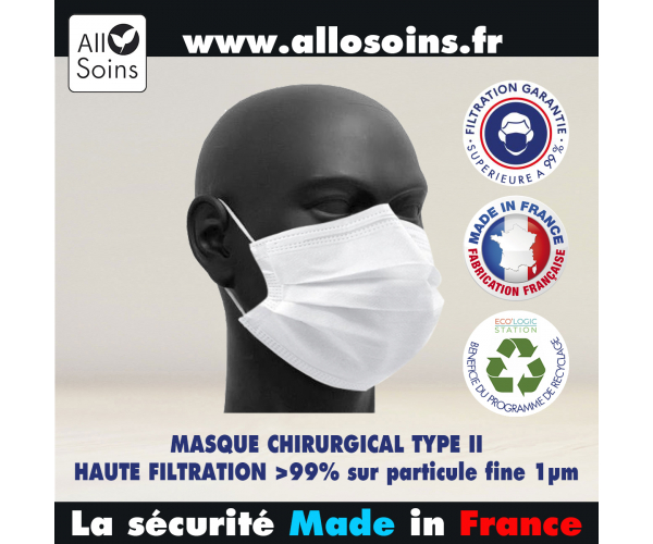 MASQUE CHIRURGICAL ECOLOGIQUE TYPE II MADE IN FRANCE